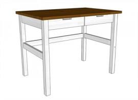 Stůl zásuvkový Mario 171W bílo-hnědý, masiv smrk