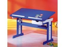 Rostoucí polohovací psací stůl IA401, masiv borovice, modro-bílý