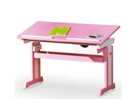 Rostoucí polohovací psací stůl IA998, masiv borovice, růžovo-bílý