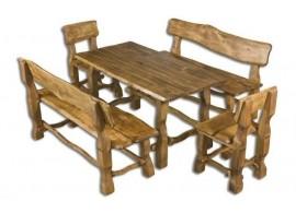Zahradní sestava - stůl a lavice Drew-101, masiv olše