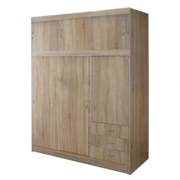 Šatní skříň třídvéřová s posuvnými dveřmi IA53000, dub
