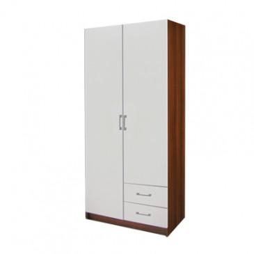 Šatní skříň dvoudveřová IA61521, ořech/bílá
