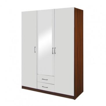 Šatní skříň třídveřová IA61530, ořech/bílá