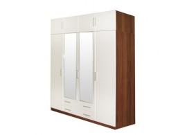 Šatní skříň čtyřdveřová IA61540, ořech/bílá