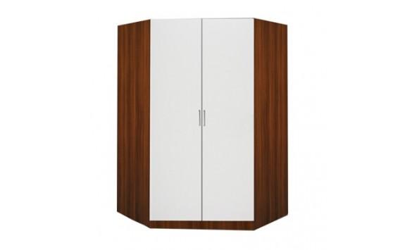 Rohová šatní skříň dvoudveřová IA61550, ořech/bílá