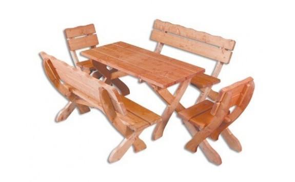 Zahradní sestava - stůl a lavice Drew-105, masiv smrk