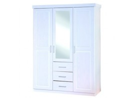Šatní skříň IA930, bílá, masiv borovice