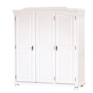 Rustikalní šatní skříň IA110, bílá, masiv borovice
