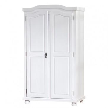 Rustikalní šatní skříň IA100, bílá, masiv borovice