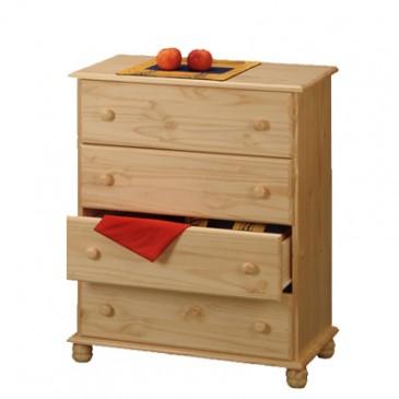 Komoda-Prádelník - 4 zásuvkový IA8014, masiv borovice