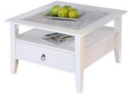 Rustikální konferenční stolek IA510, masiv borovice, bílý