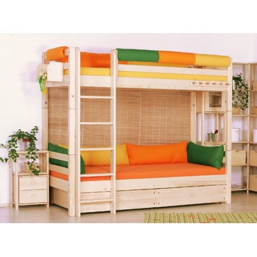 Poschoďová postel - palanda DOMINO D906, masiv smrk