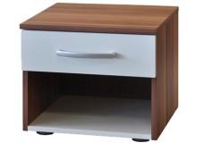 Noční stolek IA60140, ořech-bílá