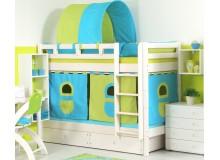 Dětská poschoďová postel - palanda DOMINO D856 nízká, masiv smrk - bílá