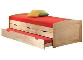 Zvýšená postel s úložným prostorem a přistýlkou MARINELA 90x200, masiv borovice