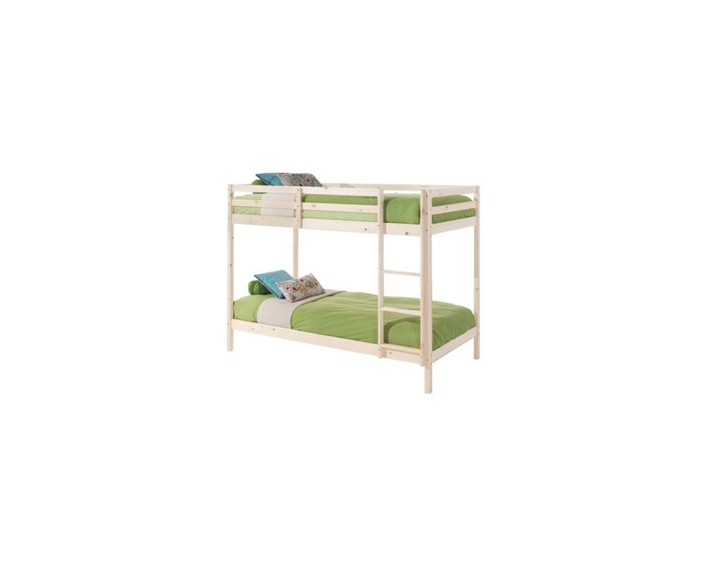 Dětská poschoďová postel - palanda IA830B, z masivu smrku, bílá