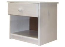 Noční stolek IA8812B, masiv borovice, bílý