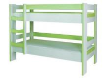 Dětská poschoďová postel CR123, zelená-bílá