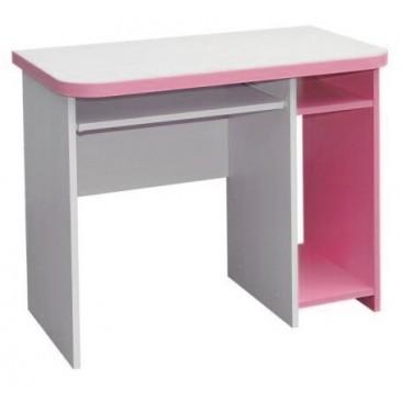 Psací PC stůl CR003, růžovo-bílá