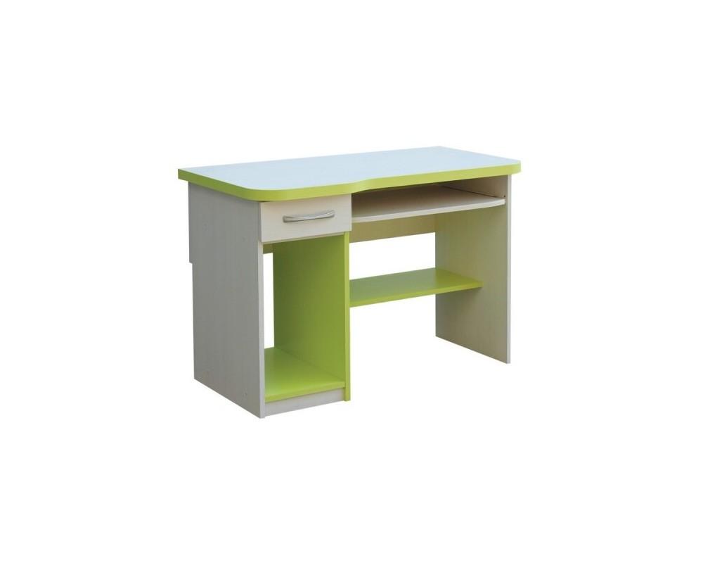 Psací PC stůl se zásuvkou CR006, zelená-bílá