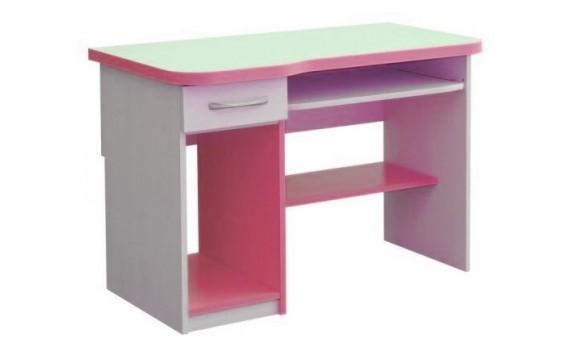 Psací PC stůl se zásuvkou CR006, růžovo-bílá
