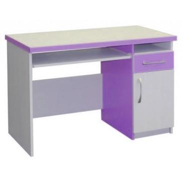 Psací PC stůl se zásuvkou CR009, fialovo-bílá