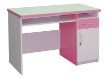 Psací PC stůl se zásuvkou CR009, růžovo-bílá