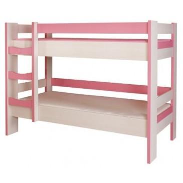Dětská poschoďová postel CR123, růžová-bílá