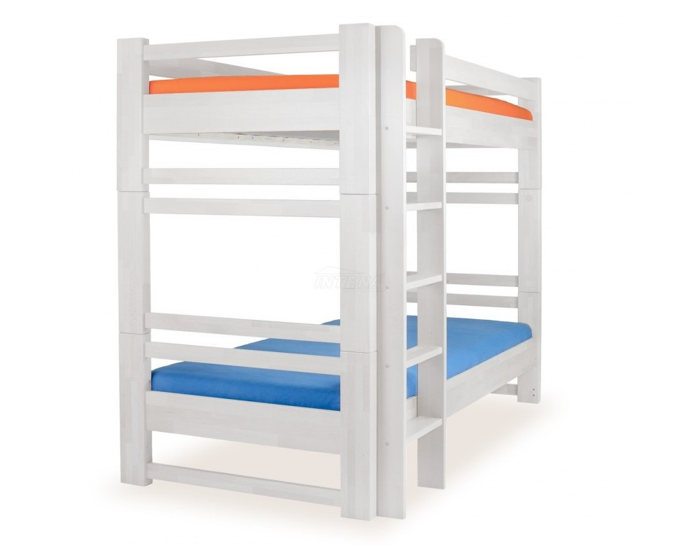 Dětská patrová postel postel - palanda rozkládací LUCAS, masiv buk, bílá