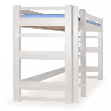 Patrová postel - horní spaní LUCAS, masiv buk, bílá