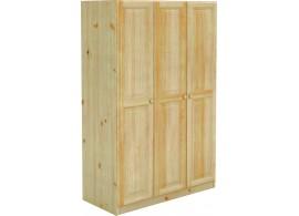 Šatní skříň třídílná BR025, masiv borovice