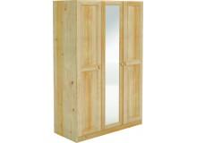 Šatní skříň BR040 se zrcadlem, masiv borovice