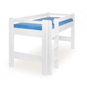Zvýšené jednolůžko - dětská zvýšená postel 90x200 LUCAS, masiv buk, bílá