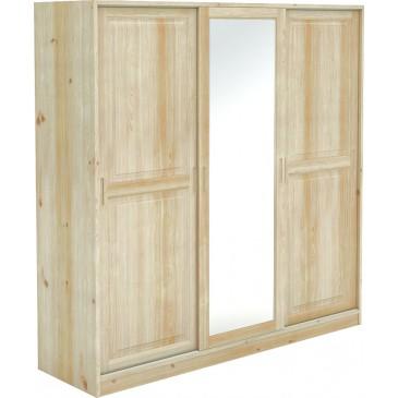 Šatní skříň s posuvnými dveřmi BR724, masiv smrk