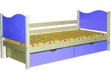 Dětská postel s úložným prostorem BR444, 90x200, masiv smrk