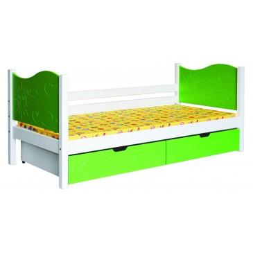 Dětská postel s úložným prostorem BR445, 90x200, masiv smrk, bílá