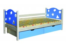 Dětská postel s úložným prostorem BR446, 90x200, masiv smrk