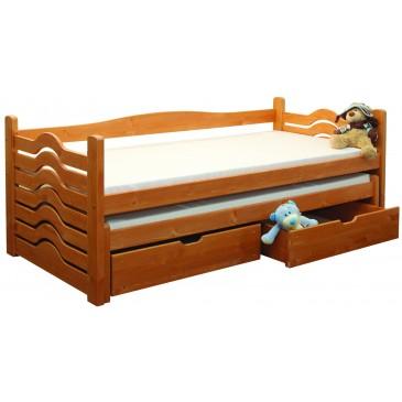 Dětská postel s přistýlkou a úložným prostorem BR431, masiv smrk
