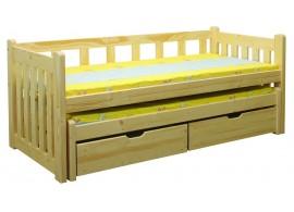 Dětská postel s přistýlkou a úložným prostorem BR432, masiv smrk