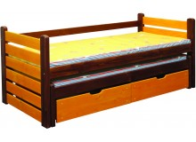 Dětská postel s přistýlkou a úložným prostorem BR433, masiv smrk