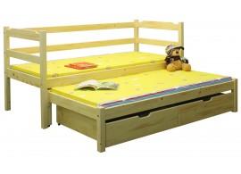 Dětská postel s přistýlkou a úložným prostorem BR434, masiv smrk
