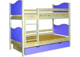 Dětská poschoďová postel se šuplíky BR410, masiv smrk