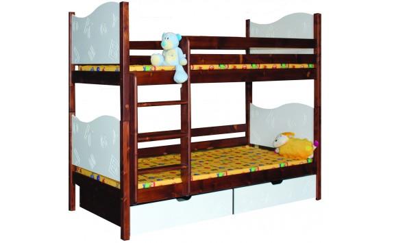 Dětská poschoďová postel se šuplíky BR411, masiv smrk
