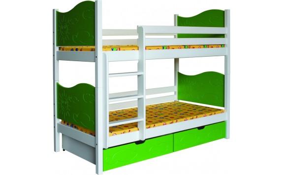 Dětská poschoďová postel se šuplíky BR412, masiv smrk