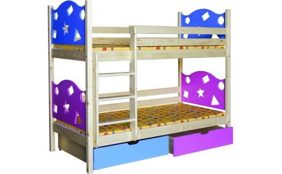 Dětská poschoďová postel se šuplíky BR413, masiv smrk