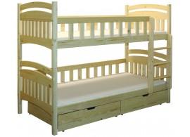 Dětská poschoďová postel se šuplíky BR402, masiv smrk