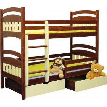 Dětská poschoďová postel se šuplíky BR404, masiv smrk