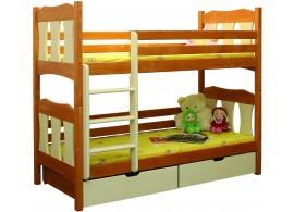 Dětská poschoďová postel se šuplíky BR407, masiv smrk