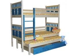 Dětská poschoďová postel s přistýlkou BR408, masiv smrk