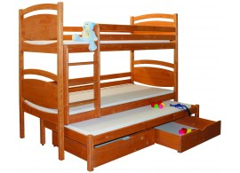Dětská poschoďová postel s přistýlkou BR409, masiv smrk